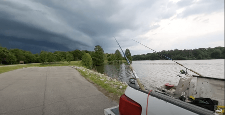 Screenshot of the video posted on YouTube by The Weekend Angler illustrating a cold front arriving on his fishing spot.